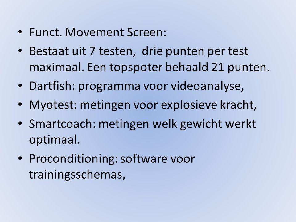 • Funct. Movement Screen: • Bestaat uit 7 testen, drie punten per test maximaal.