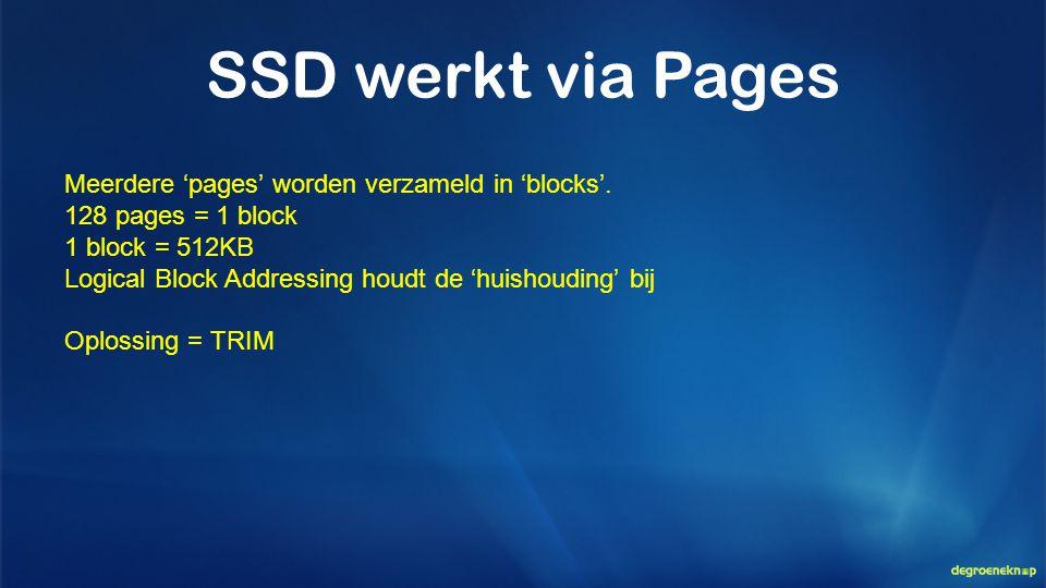 SSD werkt via Pages Meerdere 'pages' worden verzameld in 'blocks'. 128 pages = 1 block 1 block = 512KB Logical Block Addressing houdt de 'huishouding'