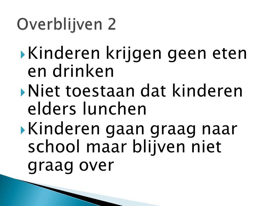  Kinderen krijgen geen eten en drinken  Niet toestaan dat kinderen elders lunchen  Kinderen gaan graag naar school maar blijven niet graag over