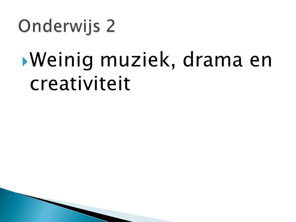  Weinig muziek, drama en creativiteit