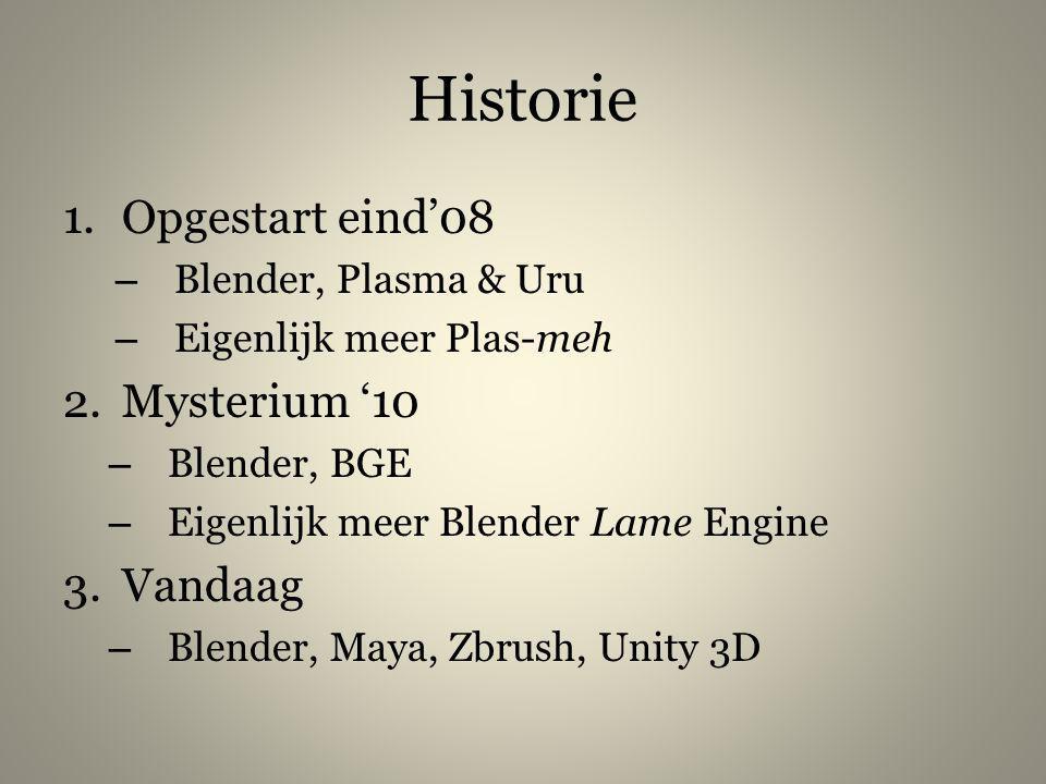 Historie 1.Opgestart eind'08 – Blender, Plasma & Uru – Eigenlijk meer Plas-meh 2.Mysterium '10 – Blender, BGE – Eigenlijk meer Blender Lame Engine 3.V
