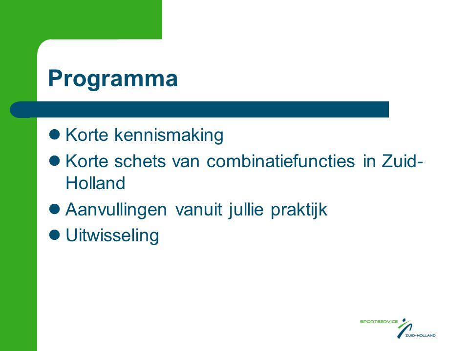 Programma  Korte kennismaking  Korte schets van combinatiefuncties in Zuid- Holland  Aanvullingen vanuit jullie praktijk  Uitwisseling