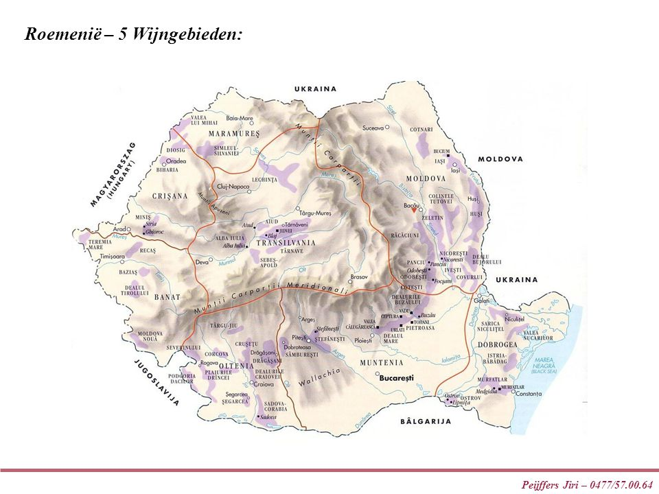 Peijffers Jiri – 0477/57.00.64 Roemenië – 5 Wijngebieden: