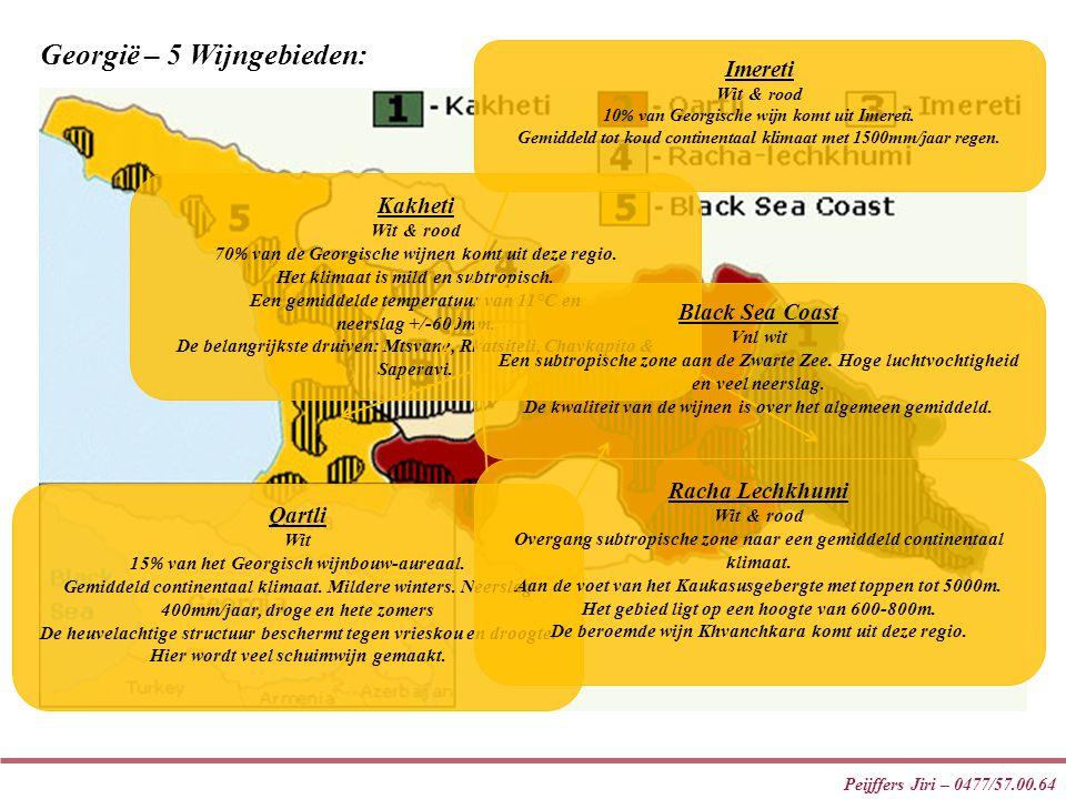 Peijffers Jiri – 0477/57.00.64 Georgië – 5 Wijngebieden: Kakheti Wit & rood 70 % van de Georgische wijnen komt uit deze regio. Het klimaat is mild en