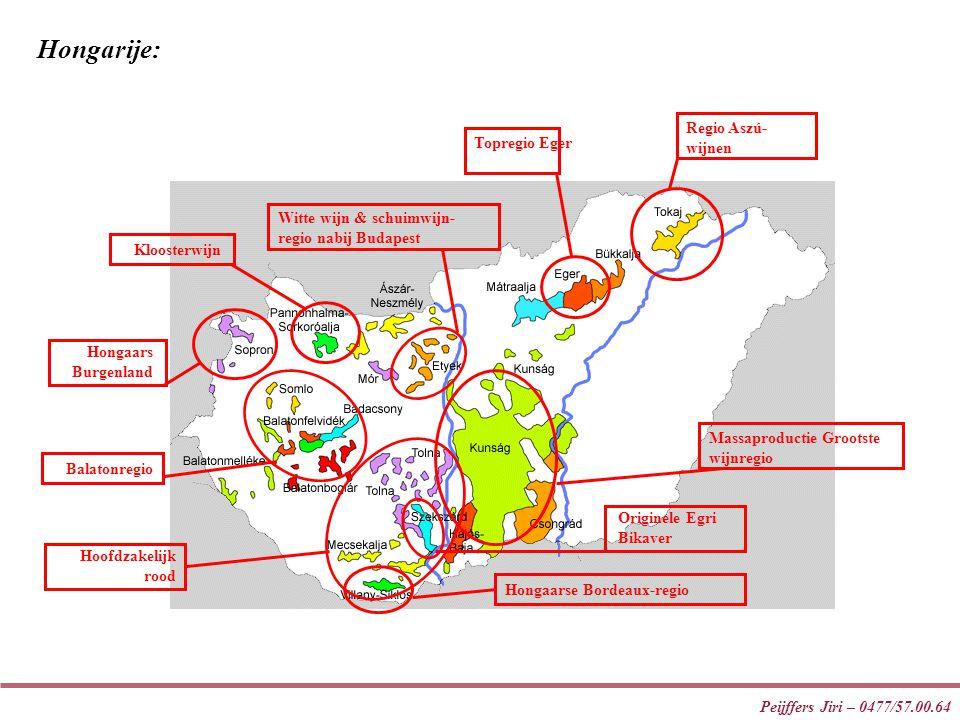 Peijffers Jiri – 0477/57.00.64 Hoofdzakelijk rood Massaproductie Grootste wijnregio Regio Aszú- wijnen Topregio Eger Balatonregio Hongaars Burgenland
