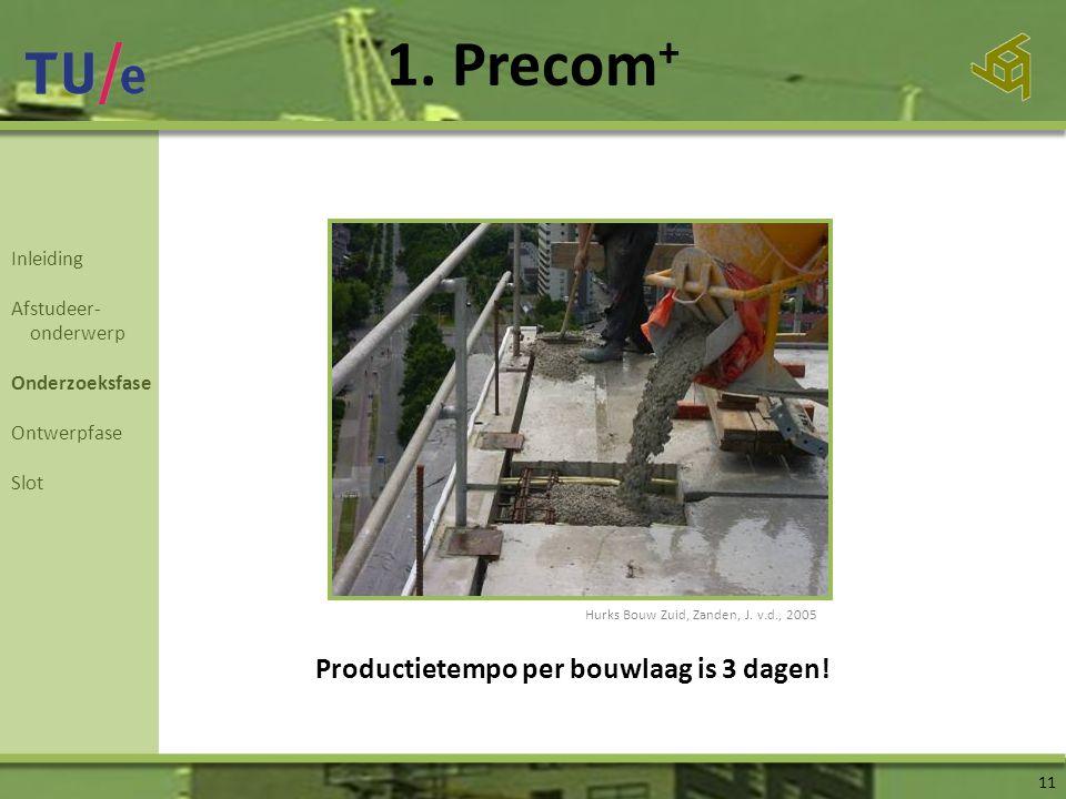 1. Precom + 11 Productietempo per bouwlaag is 3 dagen! Inleiding Afstudeer- onderwerp Onderzoeksfase Ontwerpfase Slot Hurks Bouw Zuid, Zanden, J. v.d.