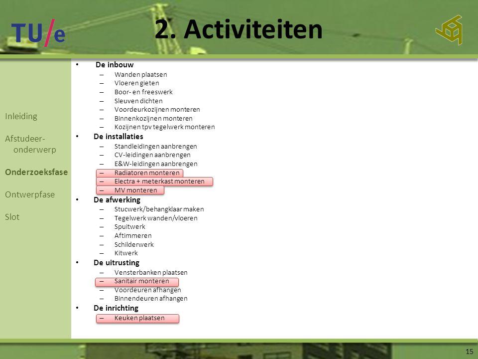 2. Activiteiten 15 Inleiding Afstudeer- onderwerp Onderzoeksfase Ontwerpfase Slot • De inbouw – Wanden plaatsen – Vloeren gieten – Boor- en freeswerk