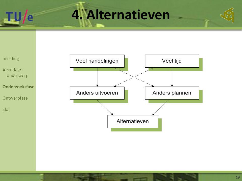 4. Alternatieven 19 Inleiding Afstudeer- onderwerp Onderzoeksfase Ontwerpfase Slot