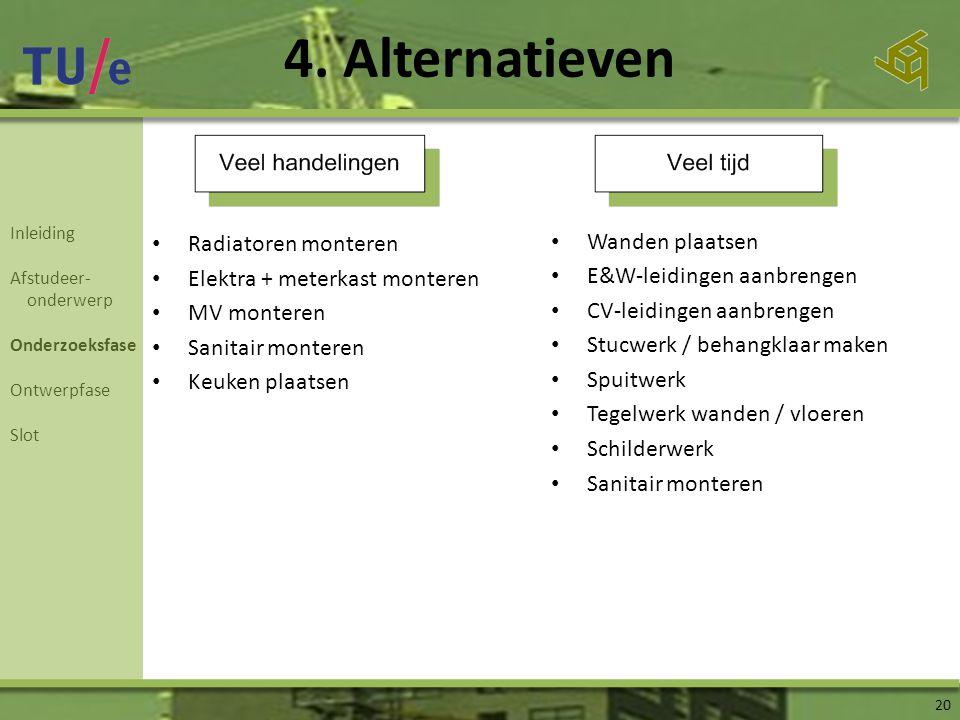 4. Alternatieven 20 • Radiatoren monteren • Elektra + meterkast monteren • MV monteren • Sanitair monteren • Keuken plaatsen • Wanden plaatsen • E&W-l
