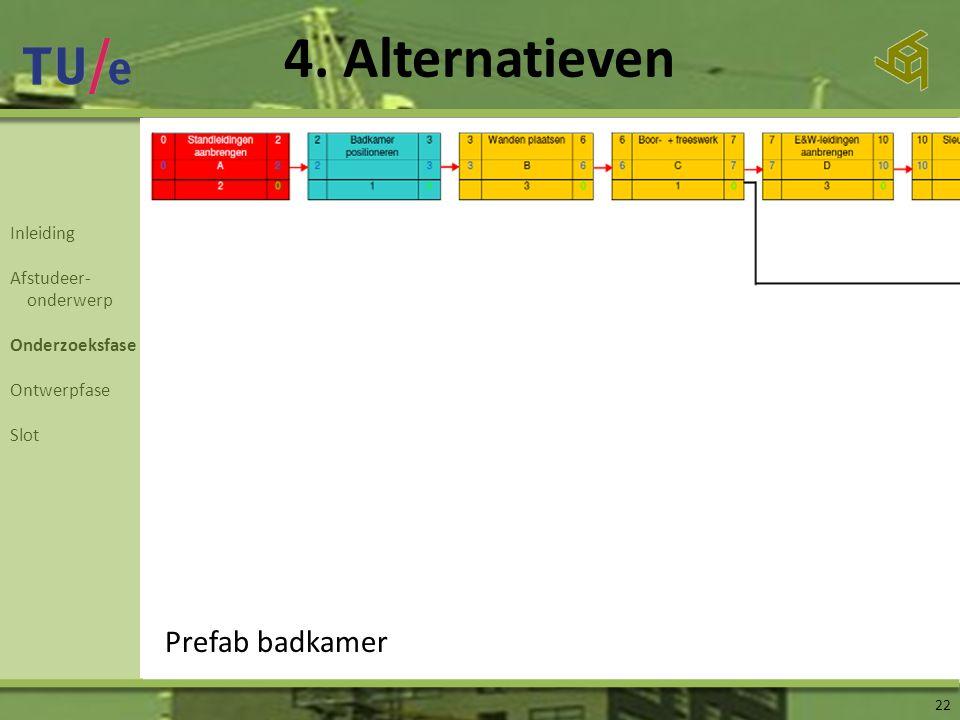 Inleiding Afstudeer- onderwerp Onderzoeksfase Ontwerpfase Slot 4. Alternatieven 22 Prefab badkamer