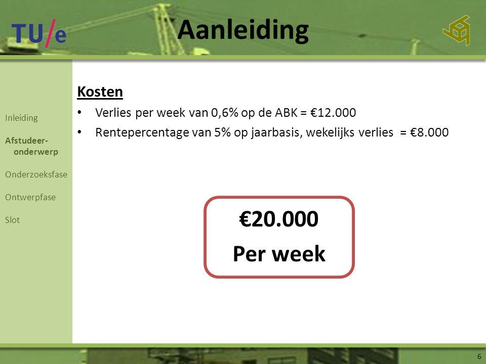 Kosten • Verlies per week van 0,6% op de ABK = €12.000 • Rentepercentage van 5% op jaarbasis, wekelijks verlies = €8.000 €20.000 Per week Aanleiding 6 Inleiding Afstudeer- onderwerp Onderzoeksfase Ontwerpfase Slot