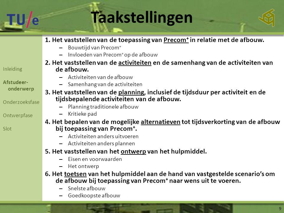 Taakstellingen 9 1.Het vaststellen van de toepassing van Precom + in relatie met de afbouw.