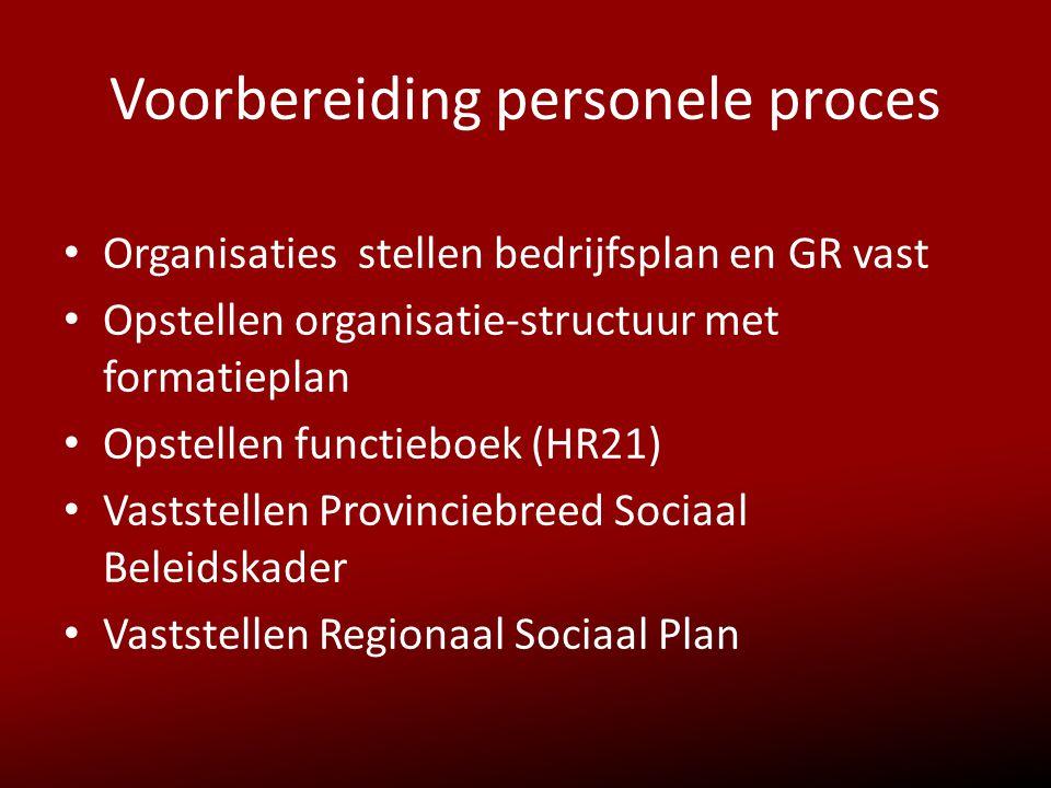 Voorbereiding personele proces • Organisaties stellen bedrijfsplan en GR vast • Opstellen organisatie-structuur met formatieplan • Opstellen functiebo