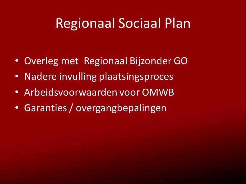 Regionaal Sociaal Plan • Overleg met Regionaal Bijzonder GO • Nadere invulling plaatsingsproces • Arbeidsvoorwaarden voor OMWB • Garanties / overgangb