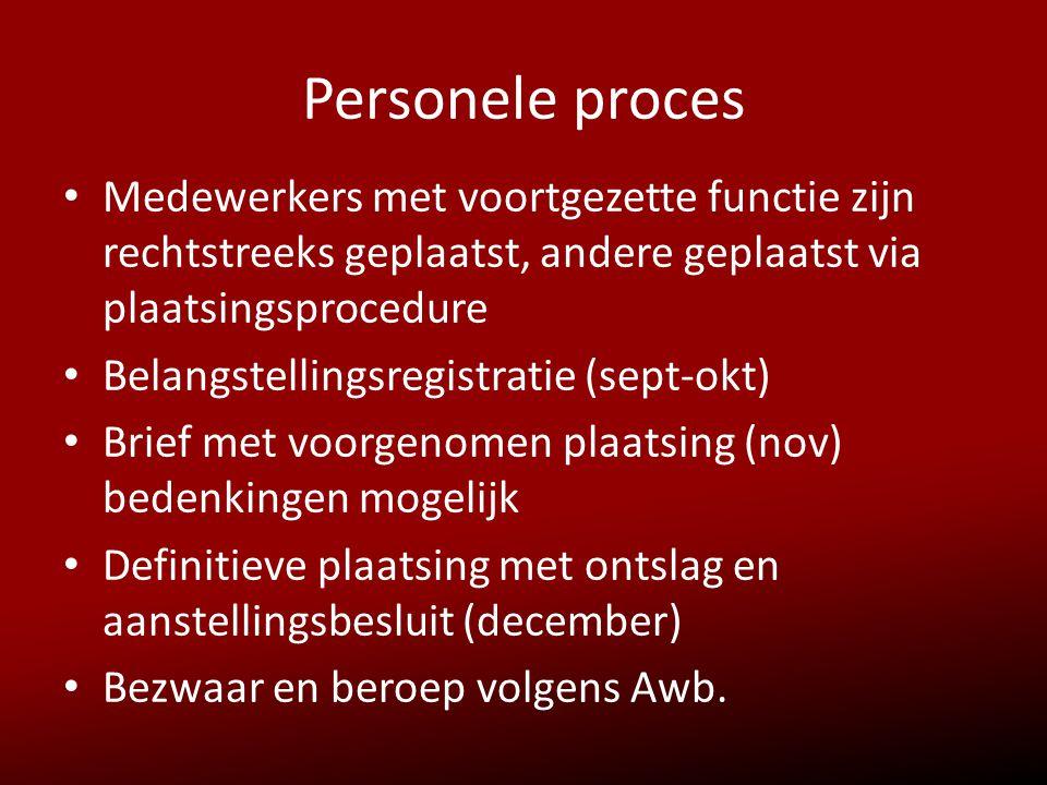Personele proces • Medewerkers met voortgezette functie zijn rechtstreeks geplaatst, andere geplaatst via plaatsingsprocedure • Belangstellingsregistr