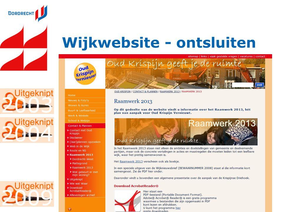 Wijkwebsite - ontsluiten