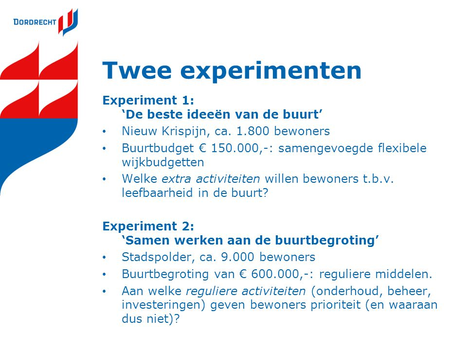 Twee experimenten Experiment 1: 'De beste ideeën van de buurt' • Nieuw Krispijn, ca. 1.800 bewoners • Buurtbudget € 150.000,-: samengevoegde flexibele