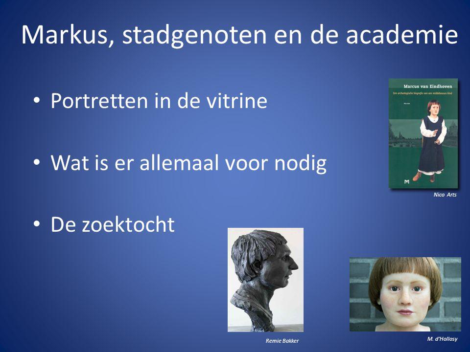 Markus, stadgenoten en de academie • Portretten in de vitrine • Wat is er allemaal voor nodig • De zoektocht M. d'Hollosy Remie Bakker Nico Arts