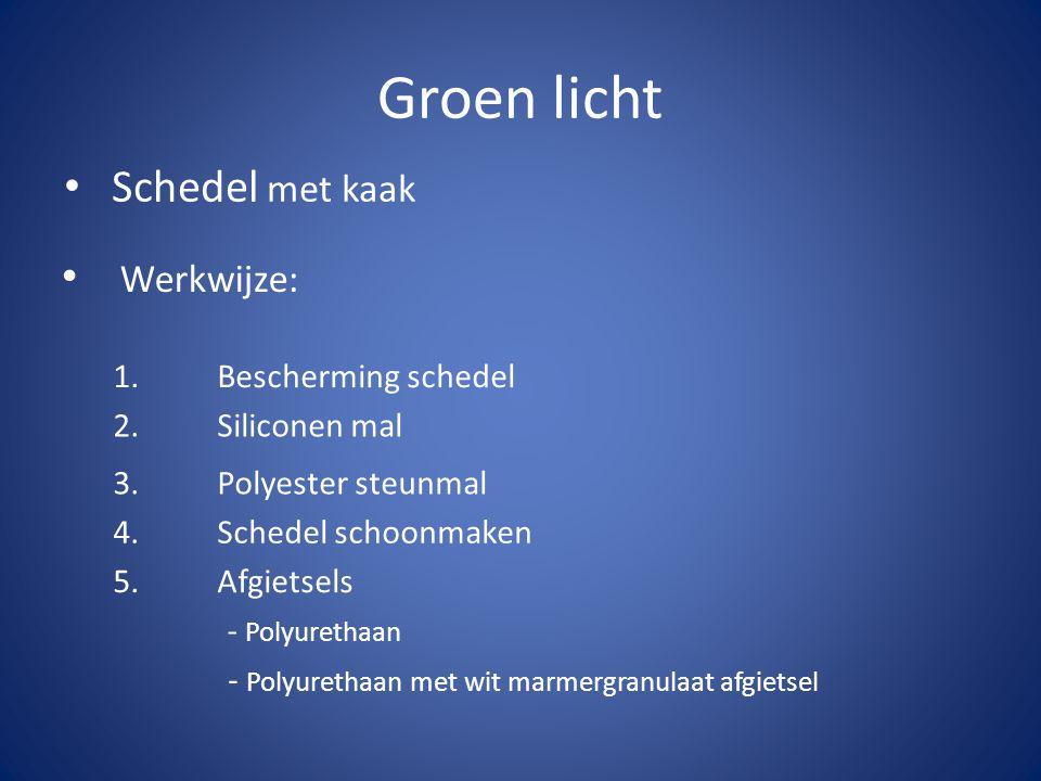 Groen licht • Schedel met kaak • Werkwijze: 1.Bescherming schedel 2. Siliconen mal 3. Polyester steunmal 4. Schedel schoonmaken 5. Afgietsels - Polyur