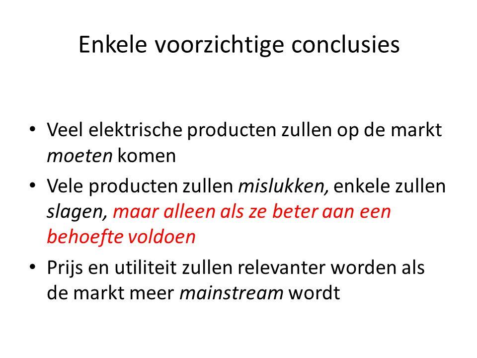 Enkele voorzichtige conclusies • Veel elektrische producten zullen op de markt moeten komen • Vele producten zullen mislukken, enkele zullen slagen, m