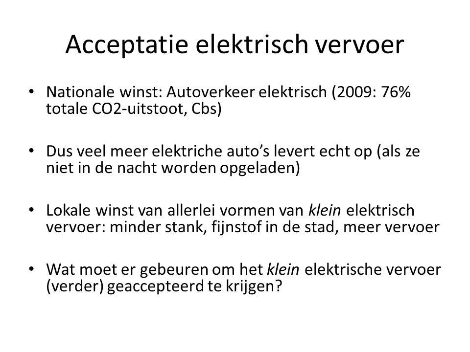 Acceptatie elektrisch vervoer • Nationale winst: Autoverkeer elektrisch (2009: 76% totale CO2-uitstoot, Cbs) • Dus veel meer elektriche auto's levert