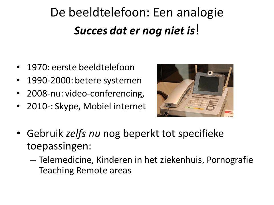 De beeldtelefoon: Een analogie Succes dat er nog niet is ! • 1970: eerste beeldtelefoon • 1990-2000: betere systemen • 2008-nu: video-conferencing, •