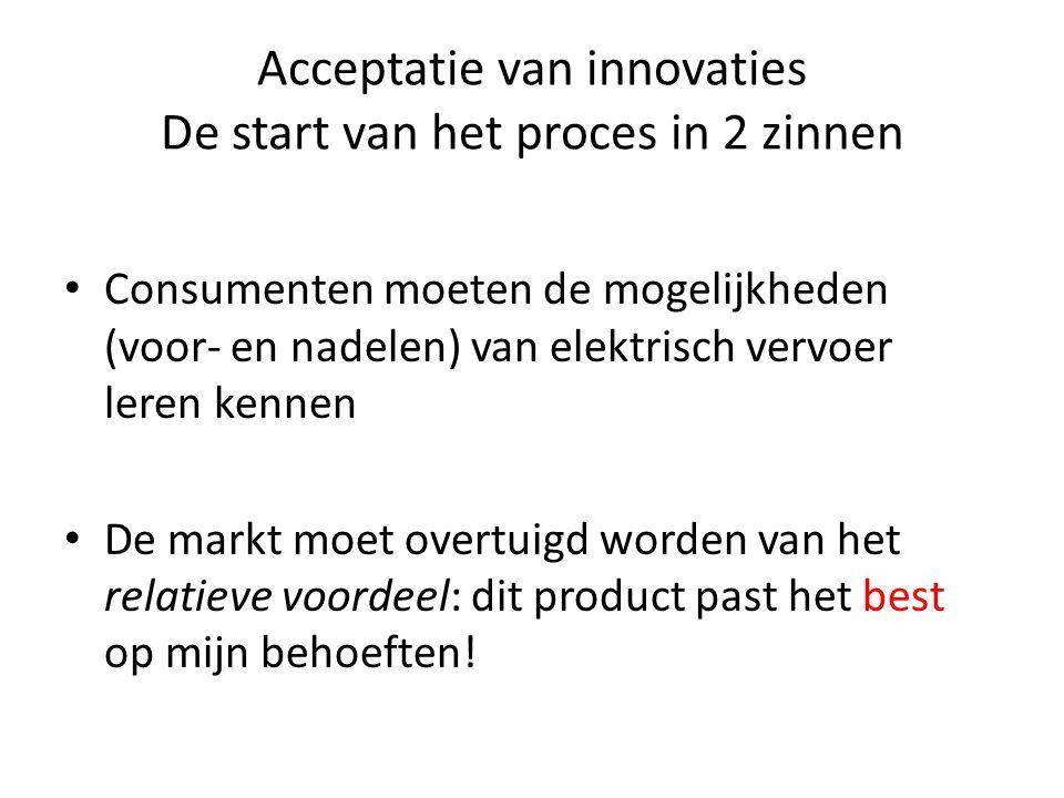 Acceptatie van innovaties De start van het proces in 2 zinnen • Consumenten moeten de mogelijkheden (voor- en nadelen) van elektrisch vervoer leren ke