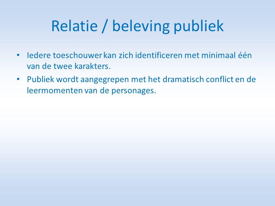 Relatie / beleving publiek • Iedere toeschouwer kan zich identificeren met minimaal één van de twee karakters.
