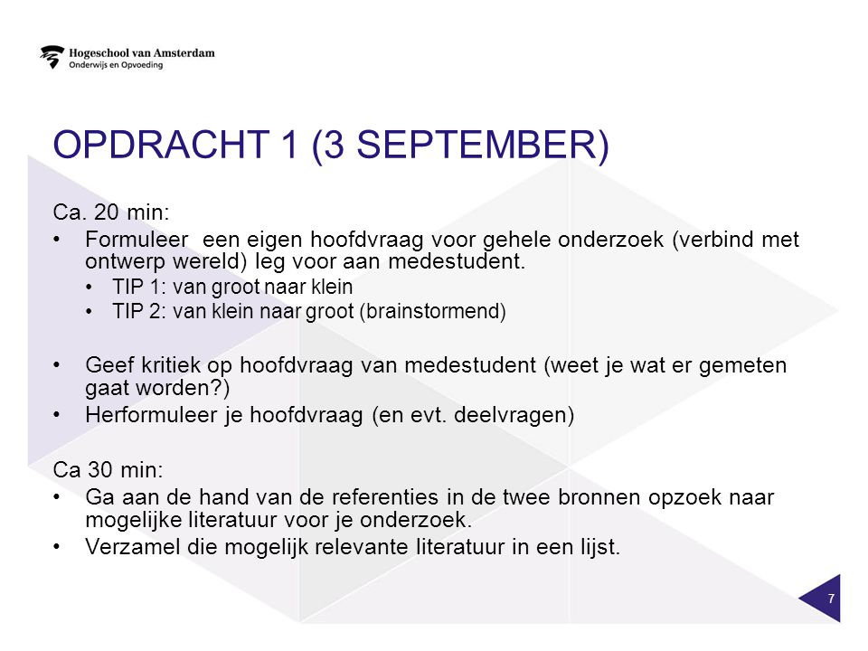 OPDRACHT 1 (3 SEPTEMBER) Ca.