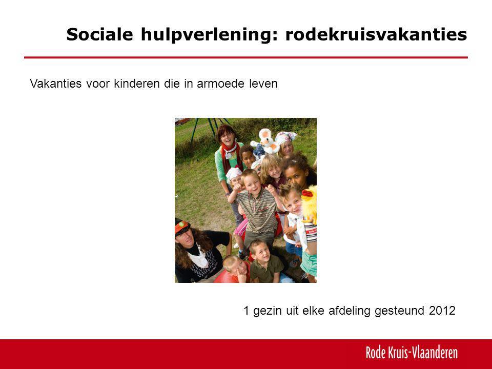 Sociale hulpverlening: rodekruisvakanties Vakanties voor kinderen die in armoede leven 1 gezin uit elke afdeling gesteund 2012