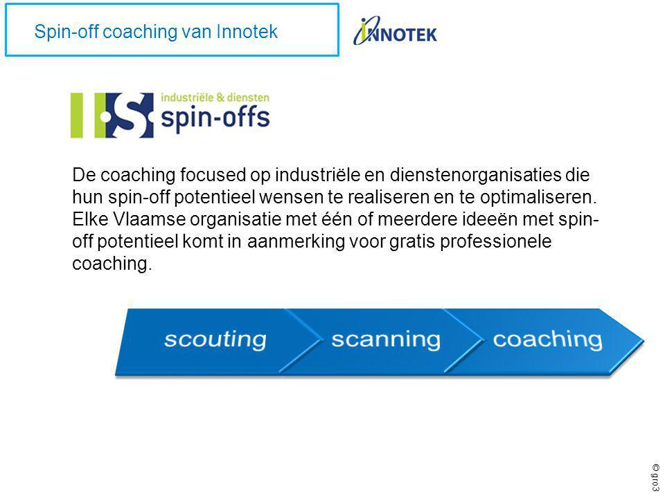 © gro3 Spin-off coaching van Innotek De coaching focused op industriële en dienstenorganisaties die hun spin-off potentieel wensen te realiseren en te optimaliseren.