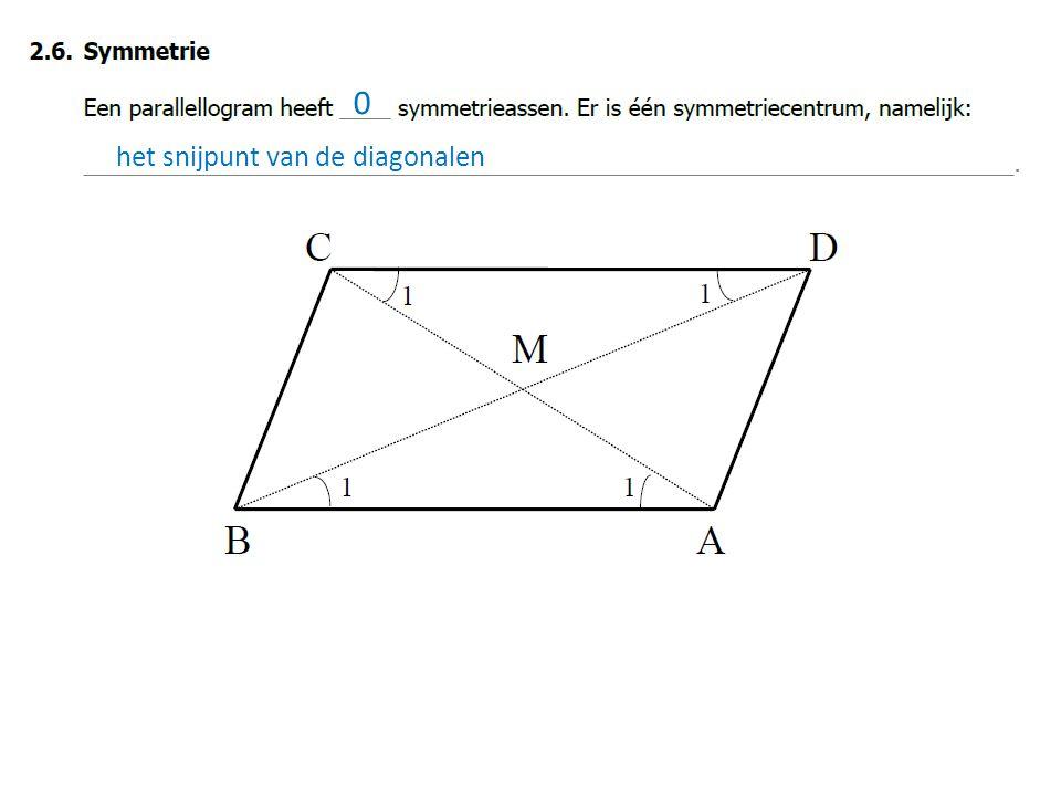0 het snijpunt van de diagonalen
