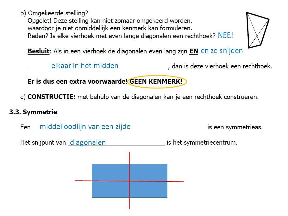 middelloodlijn van een zijde en ze snijden elkaar in het midden diagonalen NEE!