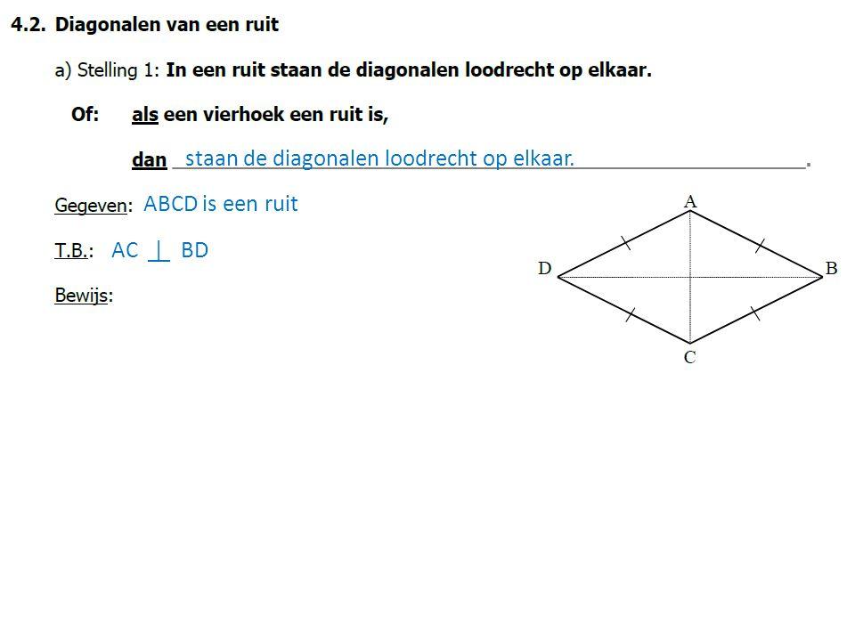 staan de diagonalen loodrecht op elkaar. ABCD is een ruit AC | BD