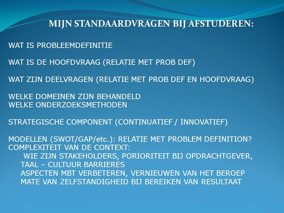 WAT IS PROBLEEMDEFINITIE WAT IS DE HOOFDVRAAG (RELATIE MET PROB DEF) WAT ZIJN DEELVRAGEN (RELATIE MET PROB DEF EN HOOFDVRAAG) WELKE DOMEINEN ZIJN BEHANDELD WELKE ONDERZOEKSMETHODEN STRATEGISCHE COMPONENT (CONTINUATIEF / INNOVATIEF) MODELLEN (SWOT/GAP/etc.): RELATIE MET PROBLEM DEFINITION.
