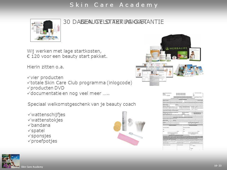 10- 23 Skin Care Academy 30 DAGEN GELD TERUG GARANTIEBEAUTY START PAKKET Wij werken met lage startkosten, € 120 voor een beauty start pakket.