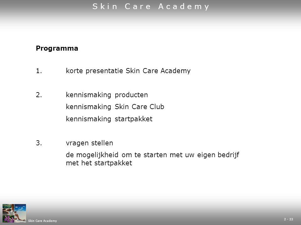 Skin Care Academy 23 - 23 ACHTERNAAM VOORNAAM STRAATNAAM EN HUISNUMMER POSTCODEPLAATSNAAM TELEFOON NR EMAIL ADRES GEB.