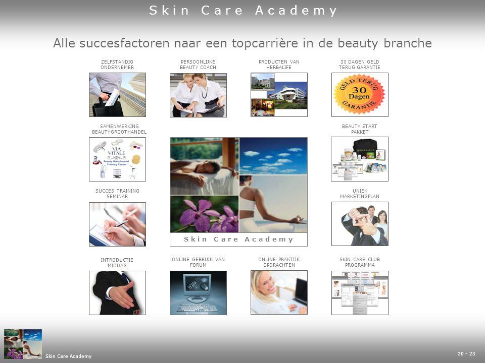 20 - 23 Skin Care Academy Alle succesfactoren naar een topcarrière in de beauty branche UNIEK MARKETINGPLAN PRODUCTEN VAN HERBALIFE INTRODUCTIE MIDDAG ZELFSTANDIG ONDERNEMER ONLINE PRAKTIJK OPDRACHTEN SAMENWERKING BEAUTYGROOTHANDEL SKIN CARE CLUB PROGRAMMA SUCCES TRAINING SEMINAR 30 DAGEN GELD TERUG GARANTIE ONLINE GEBRUIK VAN FORUM PERSOONLIJKE BEAUTY COACH BEAUTY START PAKKET