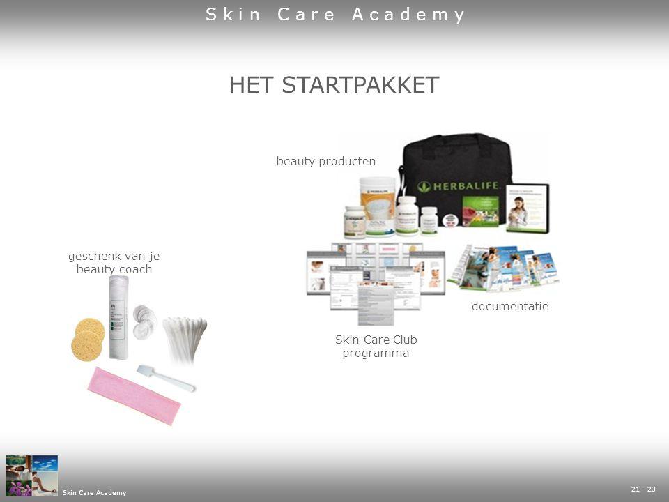 Skin Care Academy 21 - 23 geschenk van je beauty coach Skin Care Club programma beauty producten documentatie HET STARTPAKKET