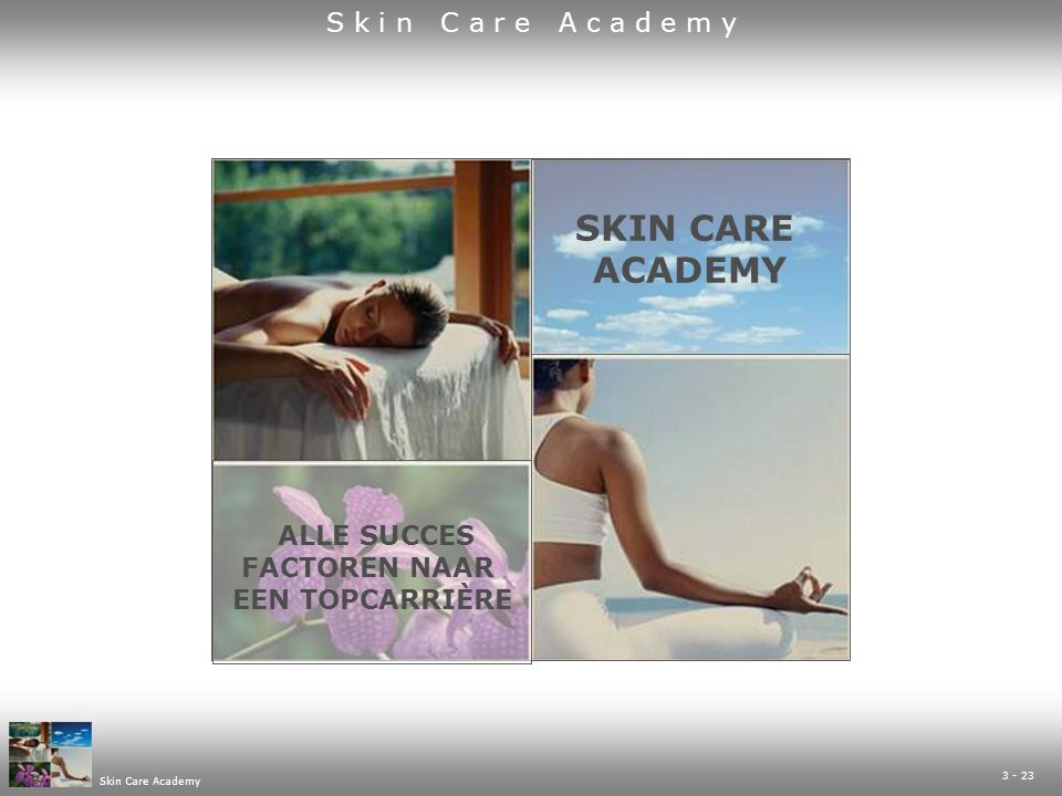 14 - 23 Skin Care Academy UNIEK MARKETINGPLANSKIN CARE CLUB PROGRAMMA  uniek en geregistreerd beautyconcept  voor Skin Care Coach en voor de klant  gat in de markt  laag drempelig (gratis gezichtsbehandeling)  aangepast met je eigen bedrijfsgegevens  exclusief concept voor salons In dit programma zit o.a.