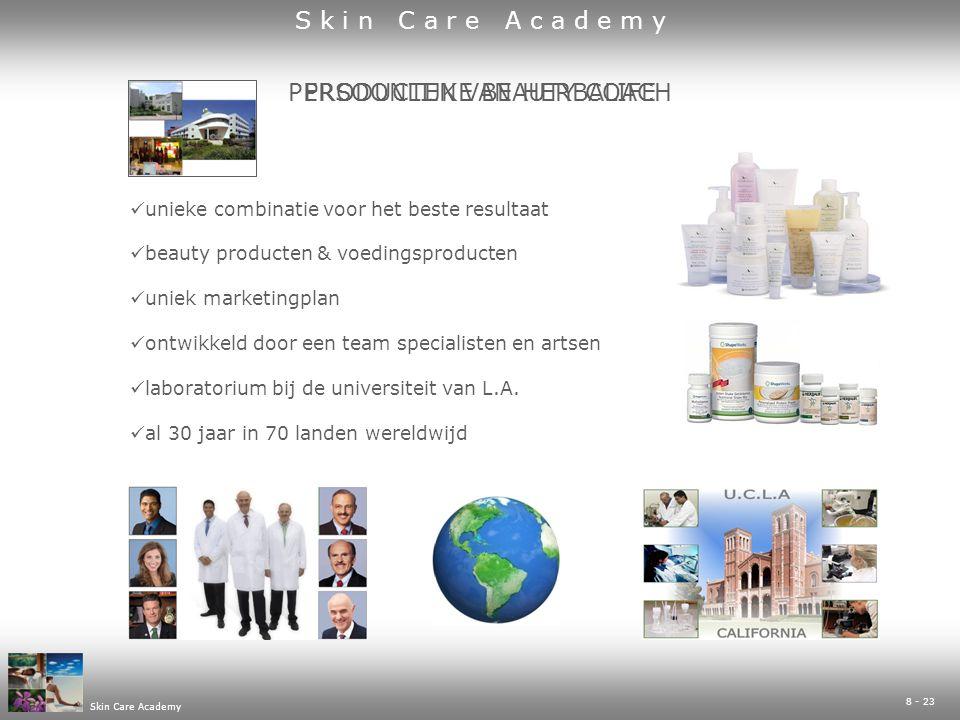 8 - 23 Skin Care Academy PRODUCTEN VAN HERBALIFEPERSOONLIJKE BEAUTY COACH  unieke combinatie voor het beste resultaat  beauty producten & voedingsproducten  uniek marketingplan  ontwikkeld door een team specialisten en artsen  laboratorium bij de universiteit van L.A.