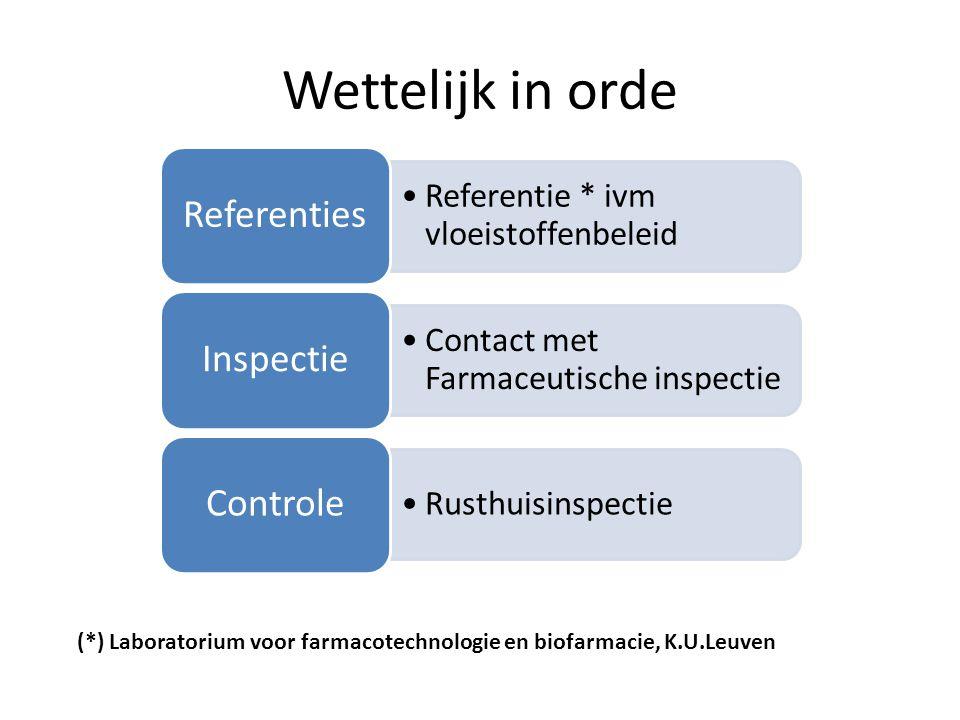 Wettelijk in orde •Referentie * ivm vloeistoffenbeleid Referenties •Contact met Farmaceutische inspectie Inspectie •Rusthuisinspectie Controle (*) Laboratorium voor farmacotechnologie en biofarmacie, K.U.Leuven