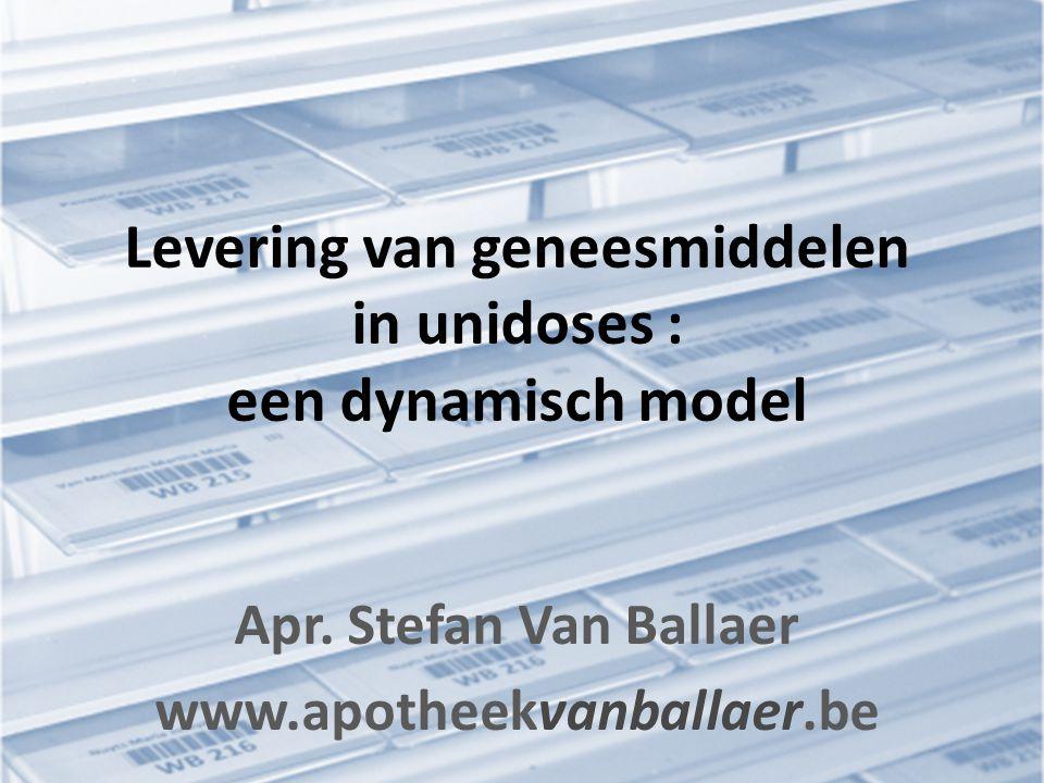Levering van geneesmiddelen in unidoses : een dynamisch model Apr. Stefan Van Ballaer www.apotheekvanballaer.be