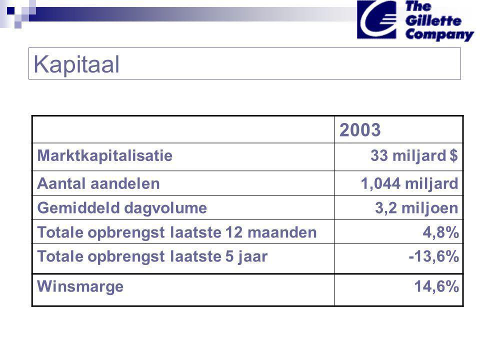 Kapitaal 2003 Marktkapitalisatie33 miljard $ Aantal aandelen1,044 miljard Gemiddeld dagvolume3,2 miljoen Totale opbrengst laatste 12 maanden4,8% Totale opbrengst laatste 5 jaar-13,6% Winsmarge14,6%