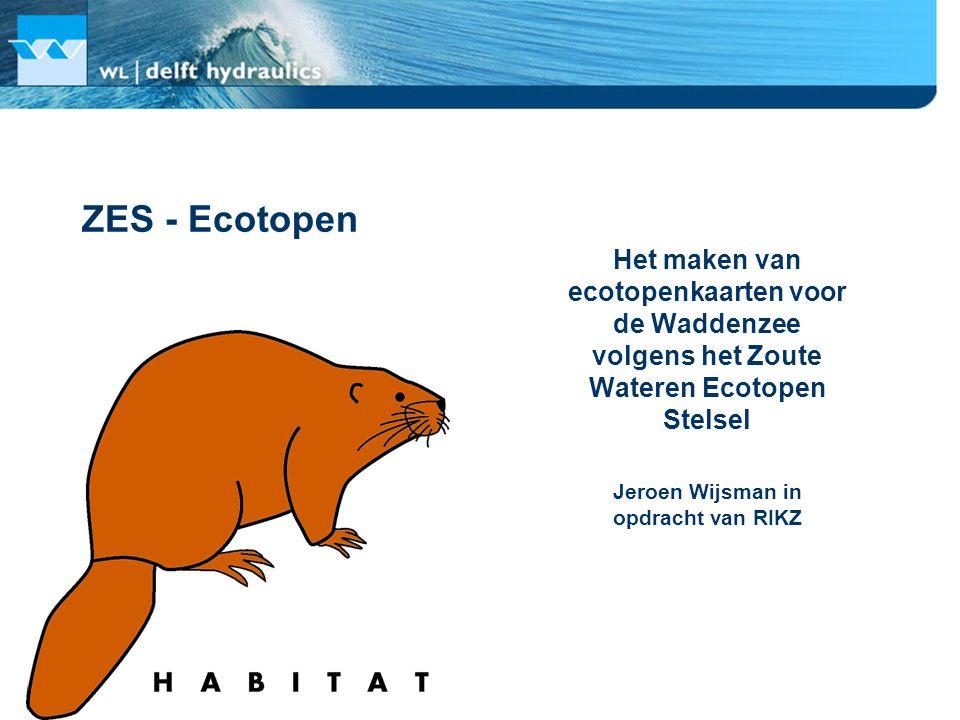 Doel: het maken van ecotopenkaarten voor de Waddenzee ZES Ecotopenindeling •Diepte •Droogvalduur •Dynamiek •Sedimentsamenstelling •Zoutgehalte