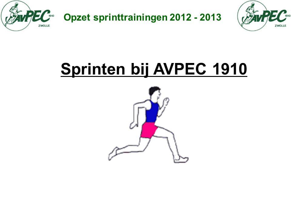 Opzet sprinttrainingen 2012 - 2013 Sprinten bij AVPEC 1910