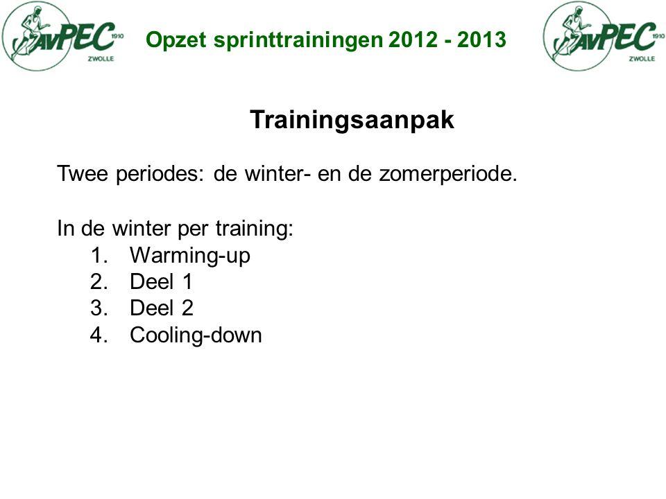 Opzet sprinttrainingen 2012 - 2013 Trainingsaanpak Twee periodes: de winter- en de zomerperiode. In de winter per training: 1. Warming-up 2. Deel 1 3.
