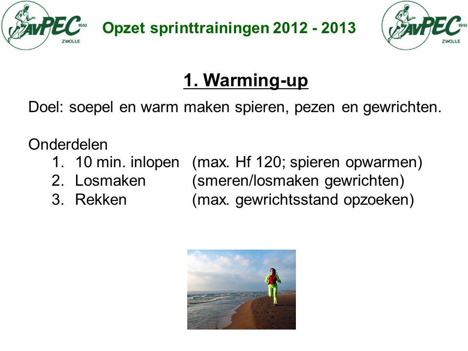 Opzet sprinttrainingen 2012 - 2013 1. Warming-up Doel: soepel en warm maken spieren, pezen en gewrichten. Onderdelen 1.10 min. inlopen (max. Hf 120; s