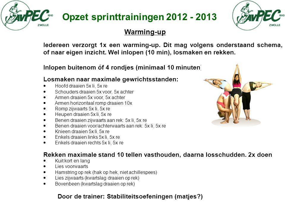 Opzet sprinttrainingen 2012 - 2013 Warming-up Iedereen verzorgt 1x een warming-up. Dit mag volgens onderstaand schema, of naar eigen inzicht. Wel inlo