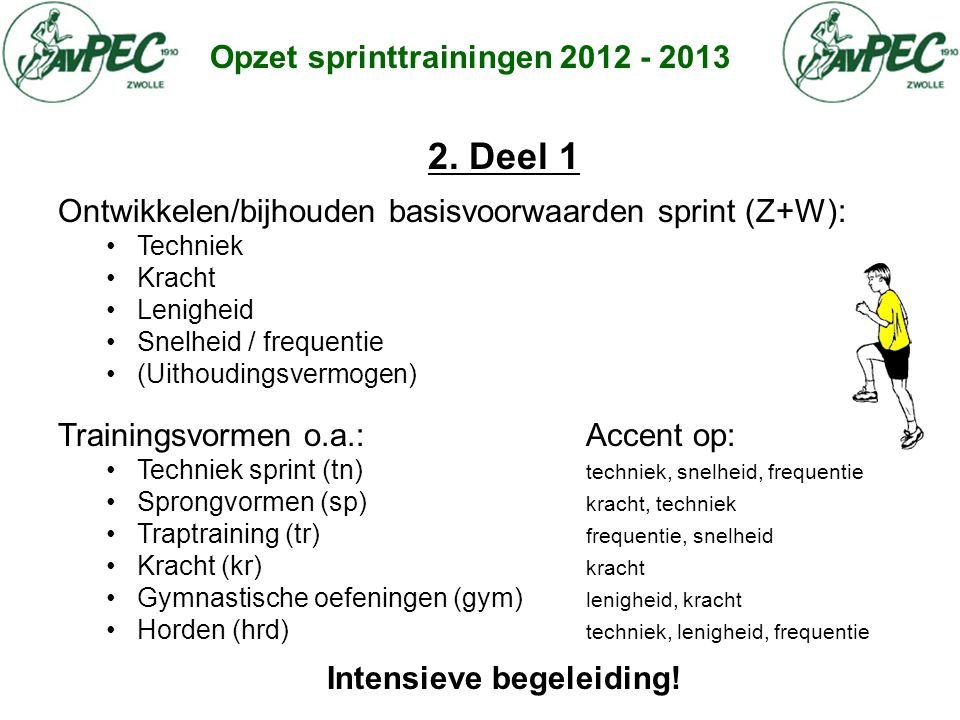 Opzet sprinttrainingen 2012 - 2013 2. Deel 1 Ontwikkelen/bijhouden basisvoorwaarden sprint (Z+W): • Techniek • Kracht • Lenigheid • Snelheid / frequen